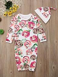 Недорогие -2шт малыш Девочки Цветочный принт / Геометрический принт / С принтом Стильные / Цветочный / Цветочный стиль Пижамы Белый