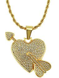 Недорогие -Муж. Ожерелья с подвесками Цепочка длинное ожерелье геометрический Сердце Arrow Массивный модный корейский Мода Хром Искусственный бриллиант Золотой 75 cm Ожерелье Бижутерия 1шт Назначение