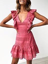 Недорогие -Жен. Изысканный Элегантный стиль А-силуэт Оболочка Платье - Однотонный, Оборки Разорванный Пэчворк Выше колена