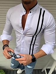 billige -Herre - Stribet Kvast Skjorte Hvid
