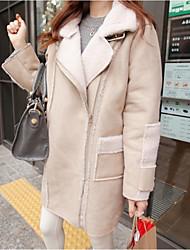 Недорогие -Жен. Повседневные Классический Длинная Пальто, Однотонный Рубашечный воротник Длинный рукав Шерсть Черный / Бежевый