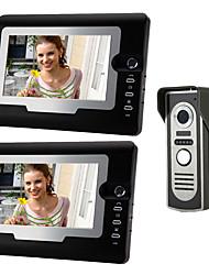 Недорогие -7-дюймовый проводной видеодомофон домофон дверной звонок HD один-два вилла видеодомофон наружный блок 420tvline цвет cmos угол регулируемый громкой связи настенный