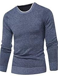 Недорогие -Муж. Однотонный Длинный рукав Пуловер, Круглый вырез Осень / Зима Светло-синий / Красный / Темно синий US32 / UK32 / EU40 / US34 / UK34 / EU42 / US36 / UK36 / EU44