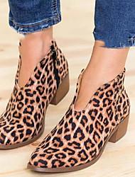 Недорогие -Жен. Ботинки На низком каблуке Заостренный носок Полиуретан Зима Черный / Светло-серый / Цвет-леопард / Леопард