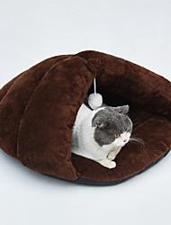 Недорогие -Собаки Кролики Коты Кровати Спальный мешок Кровать пещеры обниматься Коврики и подушки Плюшевая ткань Плюш Однотонный Серый Кофейный Хаки