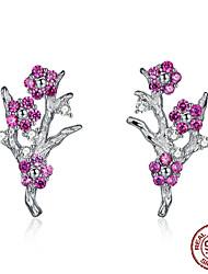 Недорогие -Новая коллекция стерлингового серебра 925 пробы зимней сладкой цветущей сливы цветок серьги-гвоздики женщины серебряные ювелирные изделия подарок bse19040