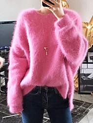 billige -Dame Ensfarvet Langærmet Pullover, Rund hals Rosa / Marineblå En Størrelse