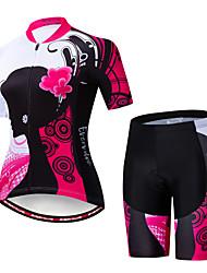 billige -EVERVOLVE Dame Kortærmet Cykeltrøje og shorts Lyserød / Sort Cykel Sport Bomuld Patchwork Bjerg Cykling Vej Cykling Tøj / Avansert / Høj Elasticitet / triathlon