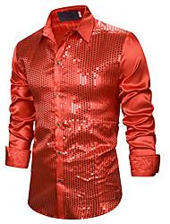 Недорогие -Муж. Пайетки Рубашка Классический Однотонный Синий / Красный Черный