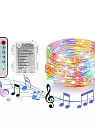 Недорогие -феери-фары loende 20 м 200 светодиодов водонепроницаемые звездные фонари с батарейным питанием с дистанционным управлением 4 режима музыки&усилитель; 8 режимов освещения мерцают огни для DIY