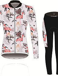 cheap -21Grams Women's Long Sleeve Cycling Jersey with Tights Pink Solid Color Floral Botanical Bike UV Resistant Quick Dry Sports Spandex Solid Color Mountain Bike MTB Road Bike Cycling Clothing Apparel