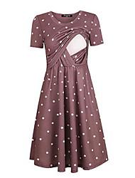 Недорогие -Мама и я Горошек С короткими рукавами Средней длины Платье Черный