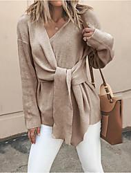 Недорогие -Жен. Однотонный Длинный рукав Пуловер, V-образный вырез Черный / Хаки M / L / XL