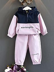 Недорогие -Дети Девочки Активный Уличный стиль На каждый день Спортивная одежда С принтом Пэчворк Пэчворк С принтом Длинный рукав Обычный Набор одежды Розовый