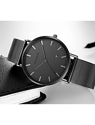 cheap -RONMAR Men's Dress Watch Quartz Vintage Style Stainless Steel Genuine Leather Black 30 m Water Resistant / Waterproof Calendar / date / day Casual Watch Analog Vintage Fashion - Black Black / Silver