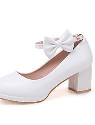 Недорогие -Девочки Детская праздничная обувь Полиуретан Обувь на каблуках Большие дети (7 лет +) Бант Белый / Розовый Лето