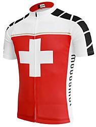 Недорогие -21Grams Switzerland Флаги Муж. С короткими рукавами Велокофты - Красный / Белый Велоспорт Верхняя часть Устойчивость к УФ Дышащий Влагоотводящие Виды спорта Терилен / Слабоэластичная