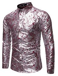 Недорогие -Муж. Рубашка Камни / преувеличены Однотонный / Цветочный принт / Графика Черный