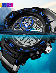 Недорогие -SKMEI Муж. Спортивные часы Армейские часы электронные часы Японский Цифровой Стеганная ПУ кожа Черный 50 m Защита от влаги Будильник Календарь Аналого-цифровые На каждый день Мода -  / Один год