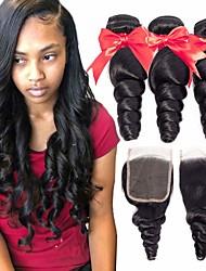 abordables -3 paquets avec fermeture Cheveux Brésiliens Ondulation Lâche Cheveux Vierges Naturel Cheveux Naturel Rémy Casque Tissages de cheveux humains Extension 8-20 pouce Couleur naturelle Tissages de cheveux