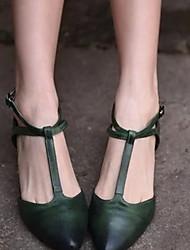 Недорогие -Жен. На плокой подошве На плоской подошве Заостренный носок Пряжки Полиуретан Лето Зеленый / Миндальный