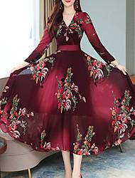 Недорогие -Жен. Винтаж А-силуэт Платье - Цветочный принт, С принтом Средней длины