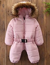 Недорогие -малыш Девочки Классический Однотонный Длинная На пуховой / хлопковой подкладке Розовый