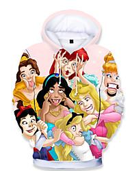 Недорогие -Дети Дети (1-4 лет) Девочки Классический С принтом С принтом Длинный рукав Худи / толстовка Цвет радуги