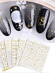 Недорогие -6 pcs 3D наклейки на ногти Звезда / Вертикальная маникюр Маникюр педикюр Экологичные / Универсальный Стиль Повседневные