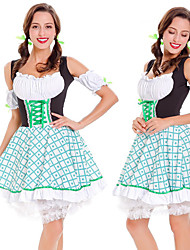 billige -Halloween Karneval Oktoberfest dirndl Dame bayerske Grøn Kjole Sløjfe