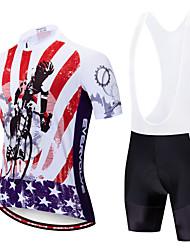 billige -EVERVOLVE Herre Kortærmet Cykeltrøje og shorts med seler Sort Hvid Cykel Sport Patchwork Bjerg Cykling Vej Cykling Tøj / Avansert / Høj Elasticitet / triathlon