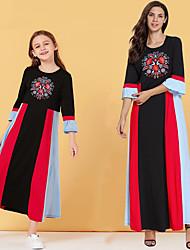 Недорогие -Мама и я Активный Классический Контрастных цветов Длинный рукав Средней длины Платье Черный
