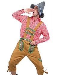 billige -Halloween Karneval Oktoberfest Trachtenkleider Herre bayerske Jord Gul Bluse Bukser Hat