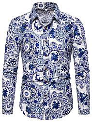 Недорогие -Муж. С принтом Рубашка Шинуазери (китайский стиль) / Элегантный стиль Цветочный принт / Контрастных цветов Синий