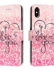 Недорогие -Кейс для Назначение Apple iPhone XS / iPhone XR / iPhone XS Max Кошелек / Бумажник для карт / Защита от удара Чехол С сердцем Кожа PU