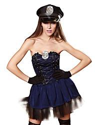 billige -Dame Politi Voksne Sexy Uniformer Cosplay Kostumer Kjole Hansker Hatt / Spandex