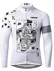 Недорогие -21Grams Покер Муж. Длинный рукав Велокофты - Черный / Белый Велоспорт Джерси Верхняя часть Устойчивость к УФ Дышащий Влагоотводящие Виды спорта 100% полиэстер Горные велосипеды Шоссейные велосипеды
