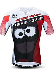 hesapli -JPOJPO Yenilik Komik Erkek Kısa Kollu Bisiklet Forması - Kırmzı Bisiklet Forma Üstler Nefes Alabilir Nem Emici Hızlı Kuruma Spor Dalları Polyester Elastane Terylene Dağ Bisikletçiliği Yol / Likra