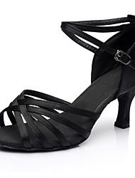 Недорогие -Жен. Танцевальная обувь Сатин Обувь для латины На каблуках Тонкий высокий каблук Персонализируемая Черный / Выступление