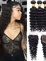 abordables -3 paquets avec fermeture Cheveux Brésiliens Ondulation profonde Cheveux Vierges Naturel Paquets de 100% Remy Hair Weave Casque Tissages de cheveux humains Extension 8-20 pouce Couleur naturelle