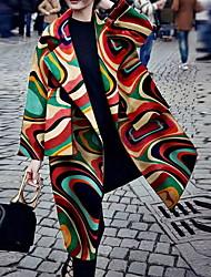 Недорогие -Жен. Повседневные Длинная Пальто, Геометрический принт Лацкан с тупым углом Длинный рукав Полиэстер Цвет радуги