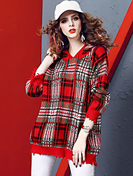 Недорогие -Жен. Контрастных цветов Длинный рукав Пуловер, Круглый вырез Осень / Зима Красный M / L / XL