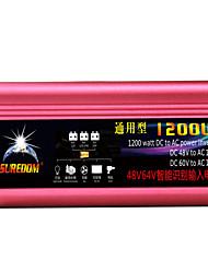 Недорогие -высокое качество автомобильный инвертор 48vand60v до 110v 1200w многофункциональный автомобильное зарядное устройство / инвертор / конвертер с USB-разъемом
