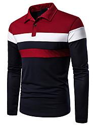 Недорогие -Муж. Пэчворк Polo Классический Контрастных цветов Черный и красный Красный