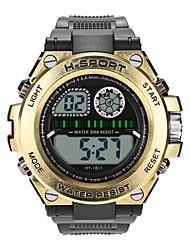 Недорогие -Мальчики электронные часы Цифровой Спортивные Стильные Кожа Черный 30 m Защита от влаги Фосфоресцирующий Повседневные часы Цифровой На каждый день Мода - Черный Белый Золотой / Один год