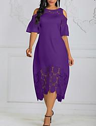 Недорогие -Жен. Большие размеры А-силуэт Платье - Однотонный, Кружева Ассиметричное