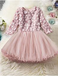 Недорогие -Дети Девочки Однотонный До колена Платье Розовый