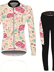 cheap -21Grams Women's Long Sleeve Cycling Jersey with Tights Pink / Black Solid Color Floral Botanical Bike UV Resistant Quick Dry Sports Spandex Solid Color Mountain Bike MTB Road Bike Cycling Clothing