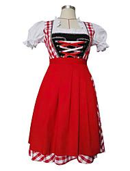 billige -Halloween Karneval Oktoberfest dirndl Dame bayerske Rød Kjole