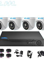 Недорогие -4ch AHD монитор установлен видеонаблюдения 1080 P крытый полушарие теплый свет полноцветная камера ночного видения 2 миллиона
